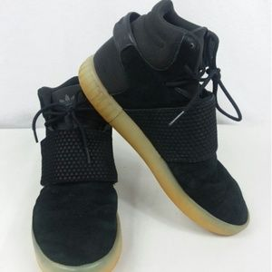 Adidas Tubular Trefoil Gum Sole Shoes Black EUC
